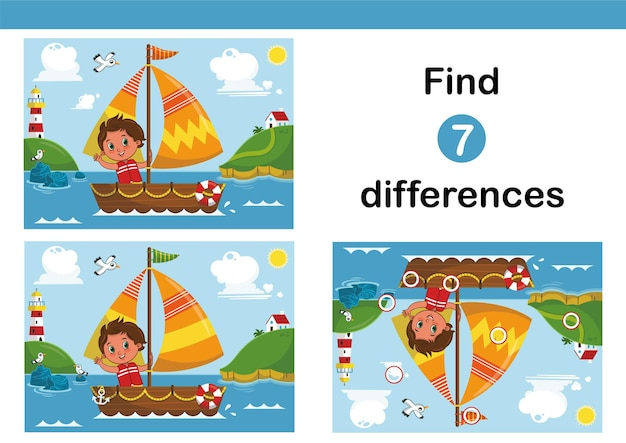 Finden sie 7 unterschiede bildungsspiel für kinder mit einem kleinen seemannsjungen auf dem segelboot