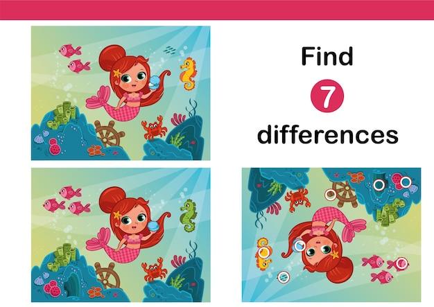 Finden sie 7 unterschiede bildungsspiel für kinder mit kleiner meerjungfrau vektor-illustration