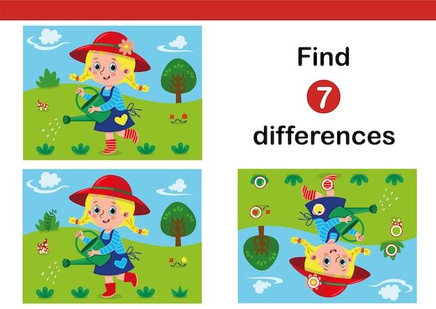 Finden sie 7 unterschiede-erziehungsspiel für kinder mit einer kleinen gärtner-vektor-illustration