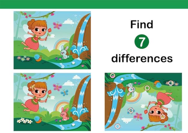 Finden sie 7 unterschiede-erziehungsspiel für kinder mit kleiner fee vektor-illustration