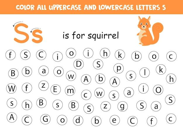 Finden sie alle buchstaben s. lernarbeitsblatt zum erlernen des alphabets. abc-buchstaben. s ist für eichhörnchen.