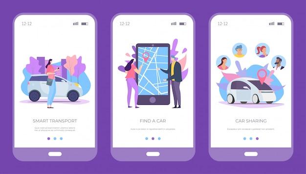Finden sie auto, smart transport und carsharing-set, illustration. mietwagenservice, smartphone-anwendung online.