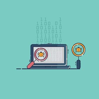 Finden sie bug-virus und fehler bei der programmierung der codierung auf dem laptop