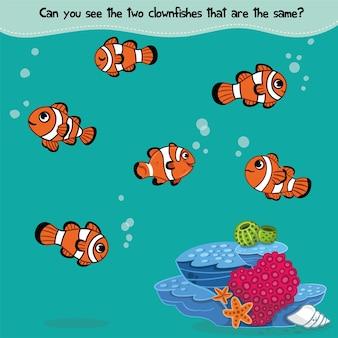 Finden sie das gleiche fisch-matching-spiel für kinder vektor-illustration