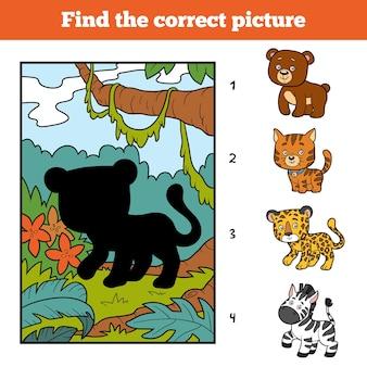 Finden sie das richtige bild, bildungsspiel für kinder. jaguar und hintergrund