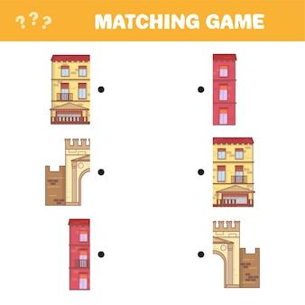 Finden sie das richtige paar für jeden teil, lernspiel. cartoon-vektor-illustration