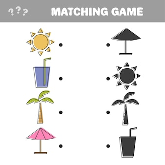 Finden sie das richtige schatten-bildungsspiel für kinder. bunte vektor-objekte für einen sommerurlaub - passendes spiel