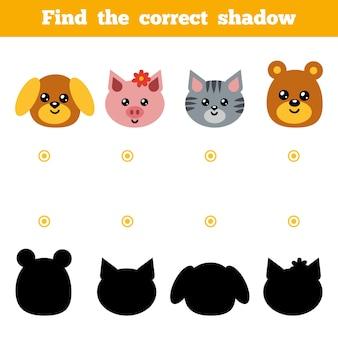 Finden sie das richtige schatten-bildungsspiel für kinder. set von comic-tieren