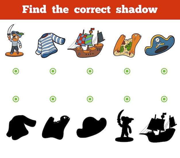 Finden sie das richtige schatten-bildungsspiel für kinder. set von piratengegenständen