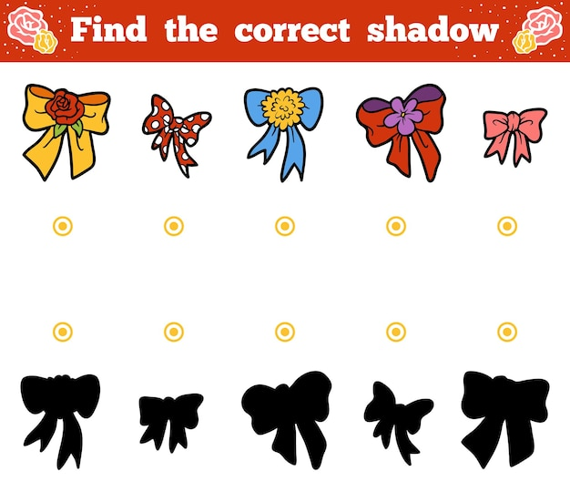 Finden sie das richtige schatten-bildungsspiel für kinder. vektor-cartoon-reihe von bögen