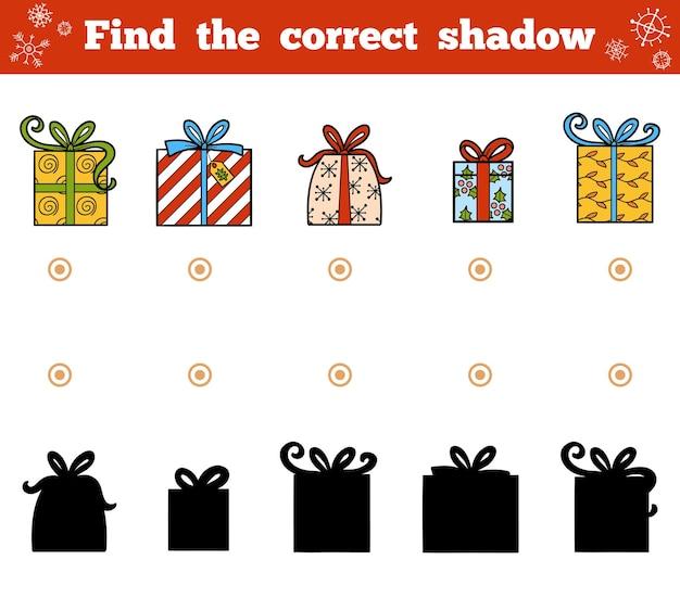Finden sie das richtige schatten-bildungsspiel für kinder. vektor-set von weihnachtsgeschenken