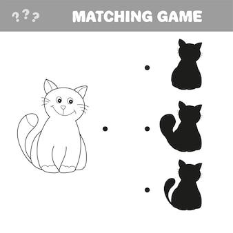 Finden sie das richtige schattenbild. lernspiele für kinder. cartoon-katze - matching-spiel