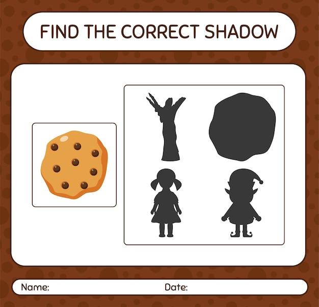 Finden sie das richtige schattenspiel mit cookie. arbeitsblatt für kinder im vorschulalter, aktivitätsblatt für kinder