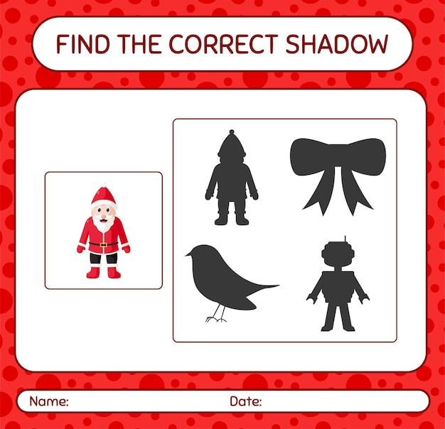 Finden sie das richtige schattenspiel mit dem weihnachtsmann. arbeitsblatt für kinder im vorschulalter, aktivitätsblatt für kinder