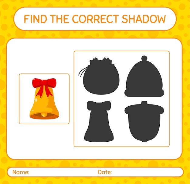 Finden sie das richtige schattenspiel mit glocke. arbeitsblatt für kinder im vorschulalter, aktivitätsblatt für kinder