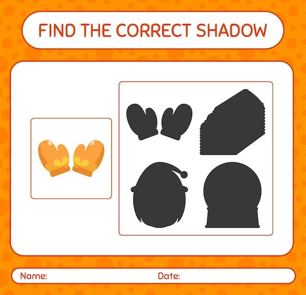 Finden sie das richtige schattenspiel mit handschuh. arbeitsblatt für kinder im vorschulalter, aktivitätsblatt für kinder