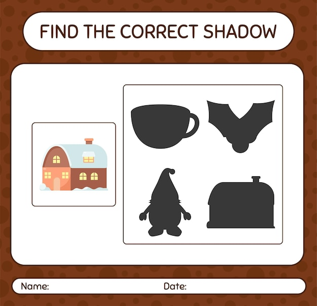 Finden sie das richtige schattenspiel mit haus. arbeitsblatt für kinder im vorschulalter, aktivitätsblatt für kinder