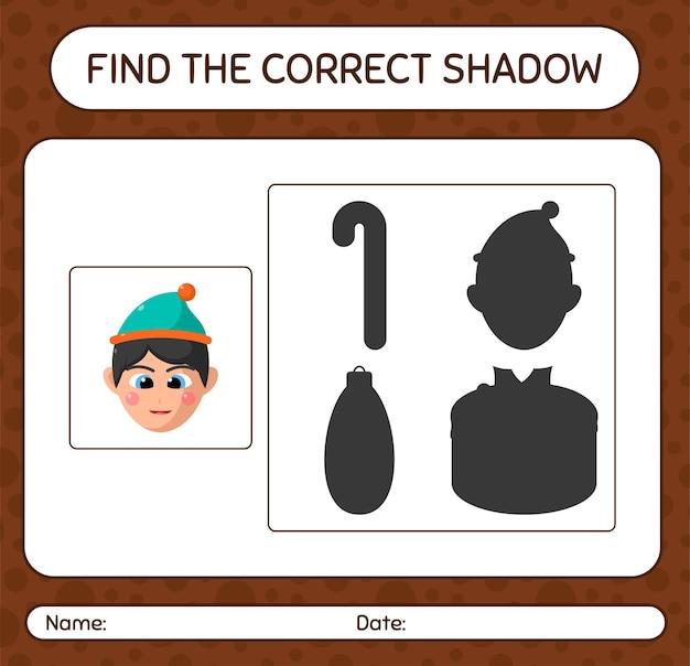 Finden sie das richtige schattenspiel mit jungen. arbeitsblatt für kinder im vorschulalter, aktivitätsblatt für kinder