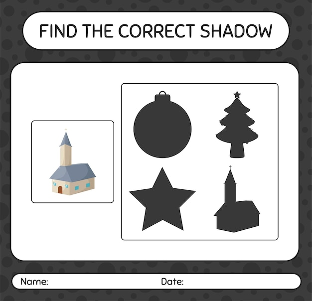 Finden sie das richtige schattenspiel mit kirche. arbeitsblatt für kinder im vorschulalter, aktivitätsblatt für kinder