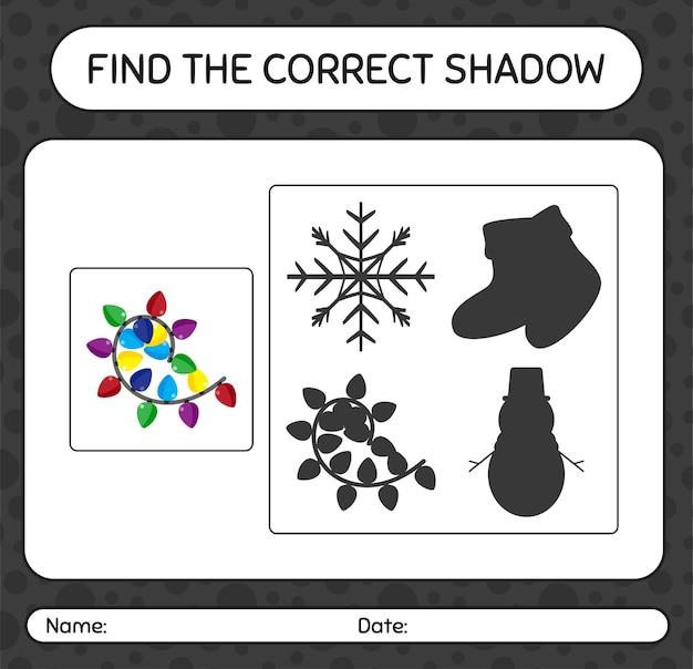 Finden sie das richtige schattenspiel mit lichterketten. arbeitsblatt für kinder im vorschulalter, aktivitätsblatt für kinder