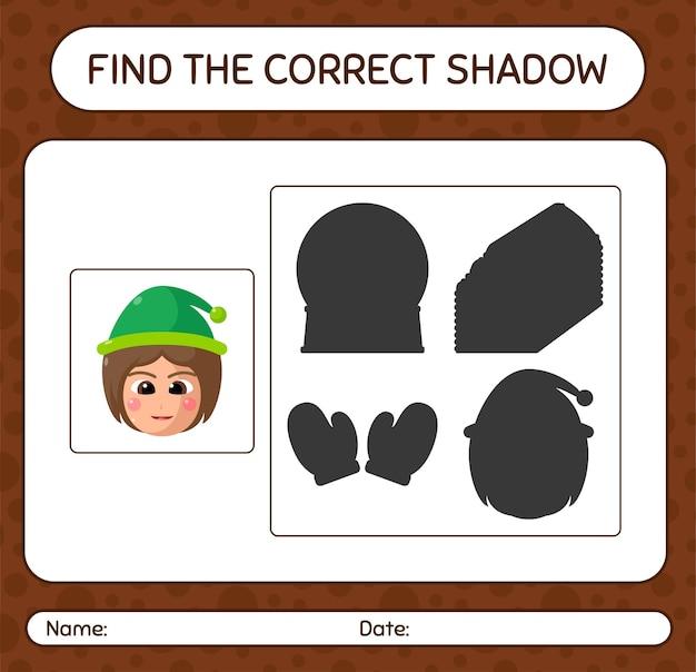 Finden sie das richtige schattenspiel mit mädchen. arbeitsblatt für kinder im vorschulalter, aktivitätsblatt für kinder