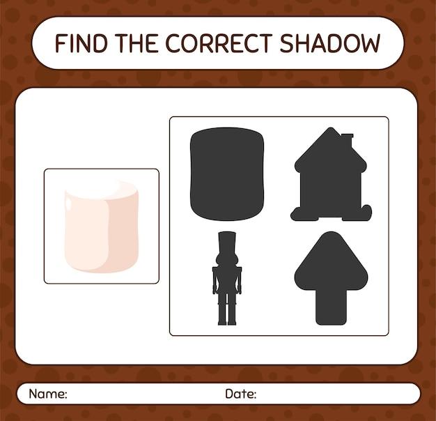 Finden sie das richtige schattenspiel mit marshmallow. arbeitsblatt für kinder im vorschulalter, aktivitätsblatt für kinder