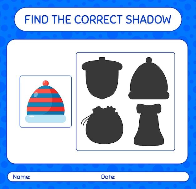 Finden sie das richtige schattenspiel mit mütze. arbeitsblatt für kinder im vorschulalter, aktivitätsblatt für kinder