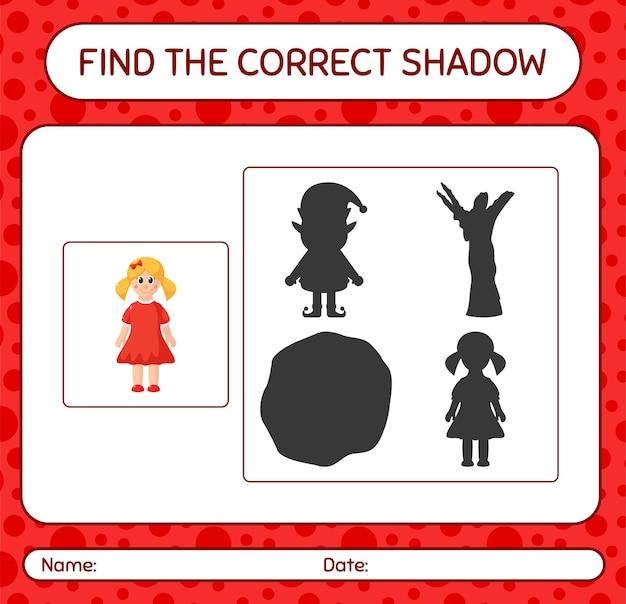 Finden sie das richtige schattenspiel mit puppe. arbeitsblatt für kinder im vorschulalter, aktivitätsblatt für kinder
