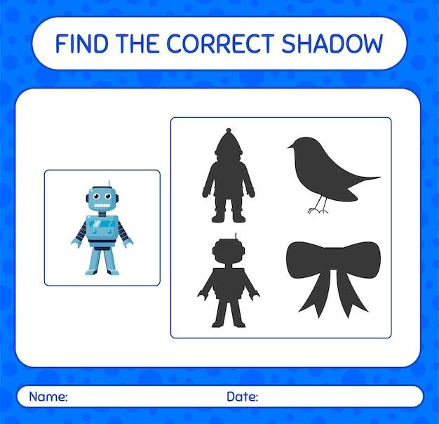 Finden sie das richtige schattenspiel mit roboterspielzeug. arbeitsblatt für kinder im vorschulalter, aktivitätsblatt für kinder