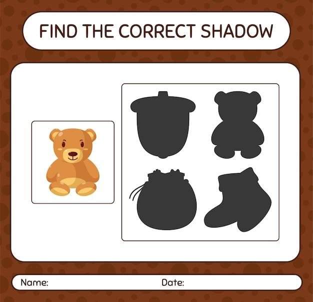 Finden sie das richtige schattenspiel mit teddybär. arbeitsblatt für kinder im vorschulalter, aktivitätsblatt für kinder