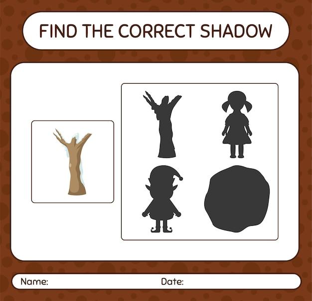 Finden sie das richtige schattenspiel mit totem baum. arbeitsblatt für kinder im vorschulalter, aktivitätsblatt für kinder