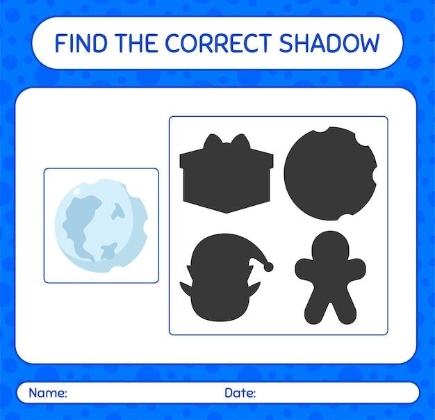 Finden sie das richtige schattenspiel mit vollmond. arbeitsblatt für kinder im vorschulalter, aktivitätsblatt für kinder