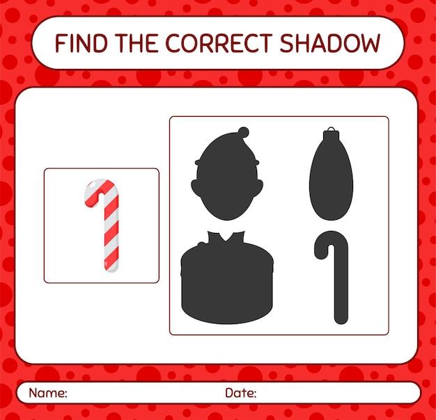 Finden sie das richtige schattenspiel mit zuckerstange. arbeitsblatt für kinder im vorschulalter, aktivitätsblatt für kinder