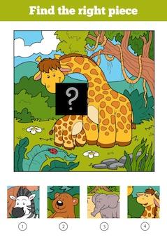 Finden sie das richtige stück, puzzle-spiel für kinder. zwei giraffen und hintergrund