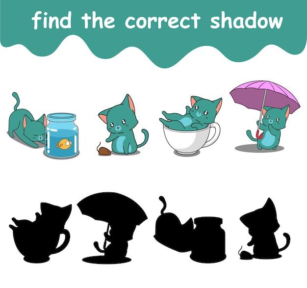 Finden sie den richtigen schatten der entzückenden katzenkarikatur