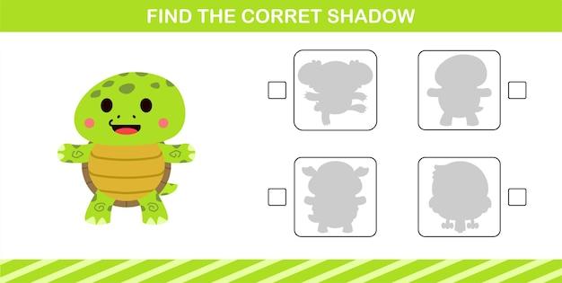Finden sie den richtigen schatten der niedlichen schildkröte, lernspiel für kinder im alter von 5 und 10 jahren