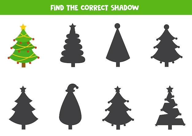 Finden sie den richtigen schatten des niedlichen weihnachtsbaumes