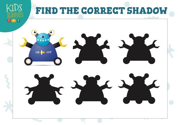 Finden sie den richtigen schatten für das minispiel für niedliche cartoon-roboter im vorschulalter. vektor-illustration mit 5 silhouetten für schatten-matching-quiz