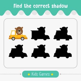 Finden sie den richtigen schatten, kinderspiel für kinder im vorschulalter