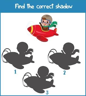 Finden sie den richtigen schatten lernspiel für kinder cartoon-vektor-illustration