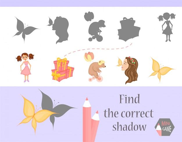 Finden sie den richtigen schatten, lernspiel für kinder. niedliche cartoon-tiere und natur. vektor-illustration.