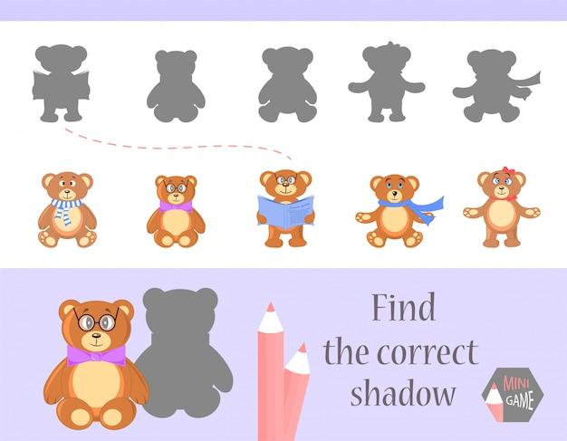 Finden sie den richtigen schatten, lernspiel für kinder. niedliche cartoon-tiere und natur. vektor-illustration