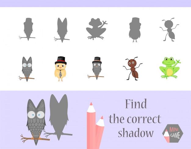 Finden sie den richtigen schatten, lernspiel für kinder. niedliche cartoon-tiere und natur.