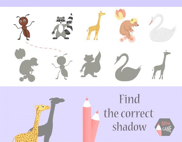 Finden sie den richtigen schatten, lernspiel für kinder
