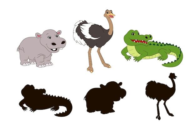 Finden sie den richtigen schatten lernspiel für kleinkindercartoon-krokodil-strauß und behemothvector