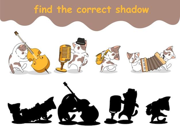 Finden sie den richtigen schatten von katzen, die instrumente spielen