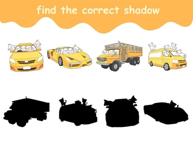 Finden sie den richtigen schatten von katzen und fahrzeugkarikaturen