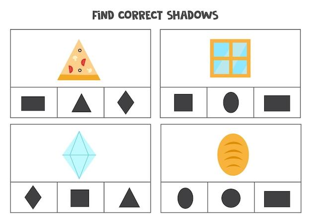 Finden sie den richtigen schatten von objekten. druckbare clipkartenspiele für kinder.
