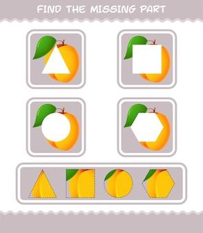 Finden sie die fehlenden teile der cartoon-aprikose. suchspiel. lernspiel für vorschulkinder und kleinkinder