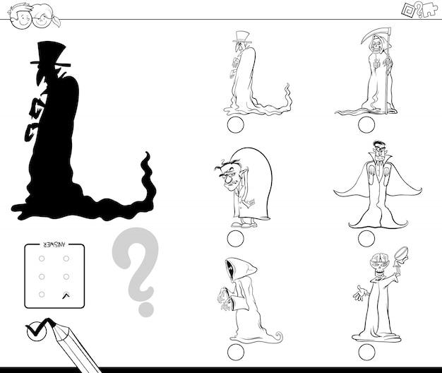 Finden sie die richtige shadow educational activity mit halloween-figuren